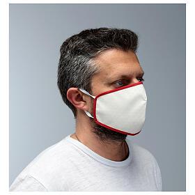 Stoffmaske, wiederverwendbar, elfenbein, mit rotem Rand s3