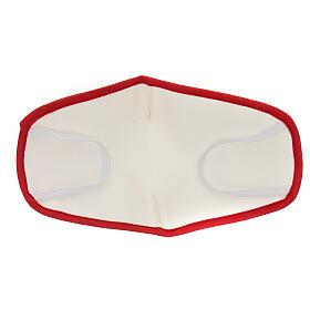 Stoffmaske, wiederverwendbar, elfenbein, mit rotem Rand s5