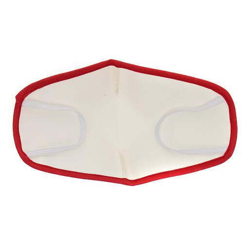 Stoffmaske, wiederverwendbar, elfenbein, mit rotem Rand 5