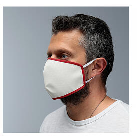 Fabric reusable face mask with red edge s4