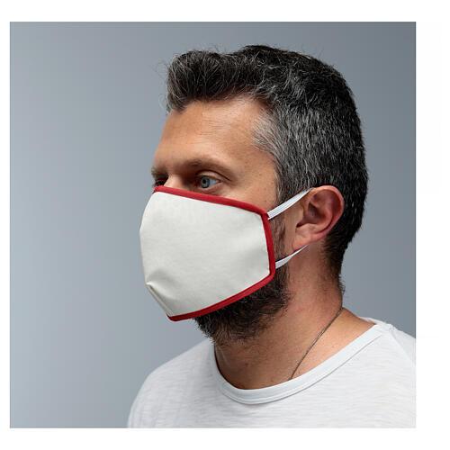 Masque en tissu réutilisable bord rouge 4