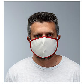 Máscara de tecido reutilizável borda vermelha s2