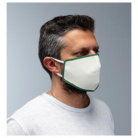 Fabric reusable face mask with green edge s3