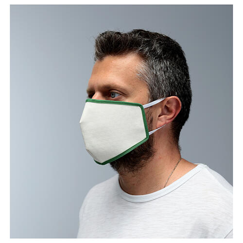 Fabric reusable face mask with green edge 4