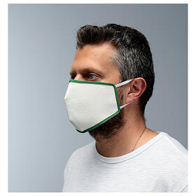 Masque en tissu réutilisable bord vert s4