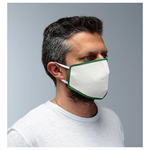 Masque en tissu réutilisable bord vert 3