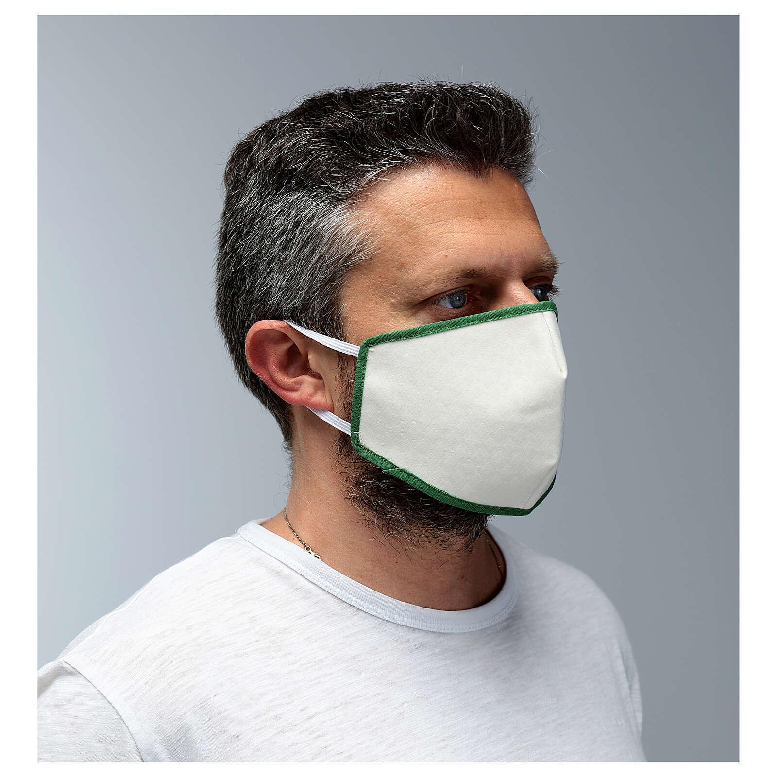 Máscara de tecido reutilizável borda verde 3