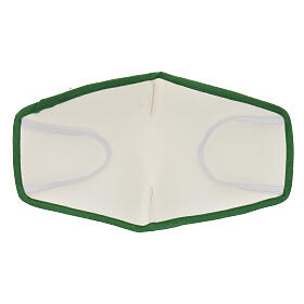 Fabric reusable mask with green edge s5
