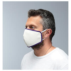 Fabric reusable face mask with purple edge s4