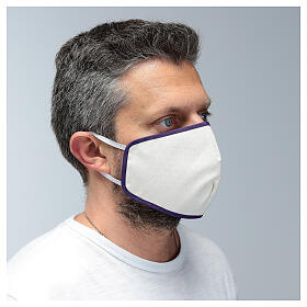 Mascarilla de tela reutilizable borde violeta s3