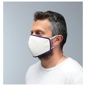 Mascarilla de tela reutilizable borde violeta s4