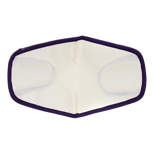 Mascherina in stoffa riutilizzabile bordo viola 5