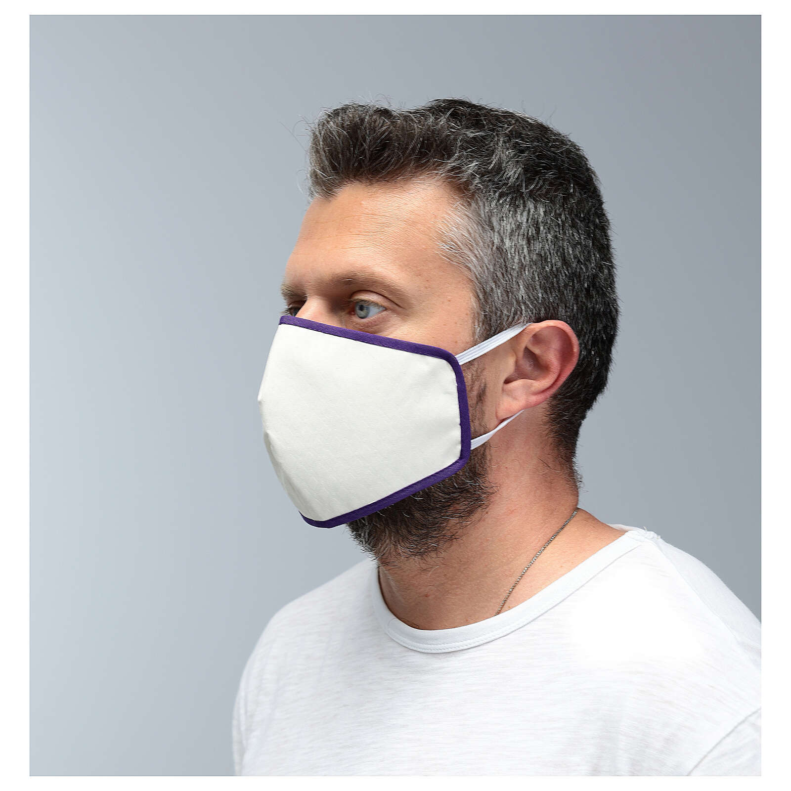 Fabric reusable mask with violet edge 3
