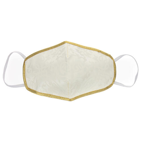 Washable fabric mask iveory/gold edge 1