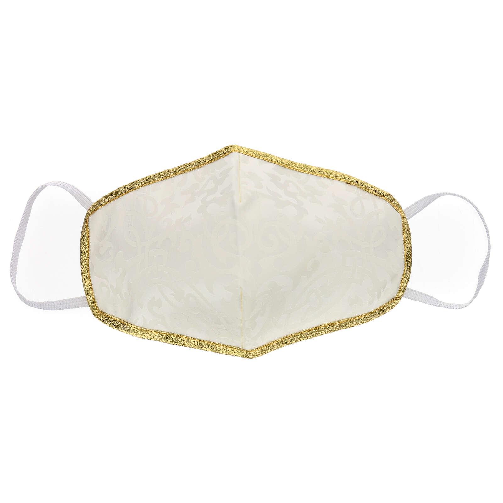 Mascarilla de tejido lavable marfil/oro 3
