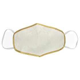 Masque lavable en tissu ivoire/or s1