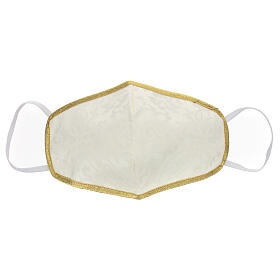 Mascherina in tessuto lavabile avorio/oro s1