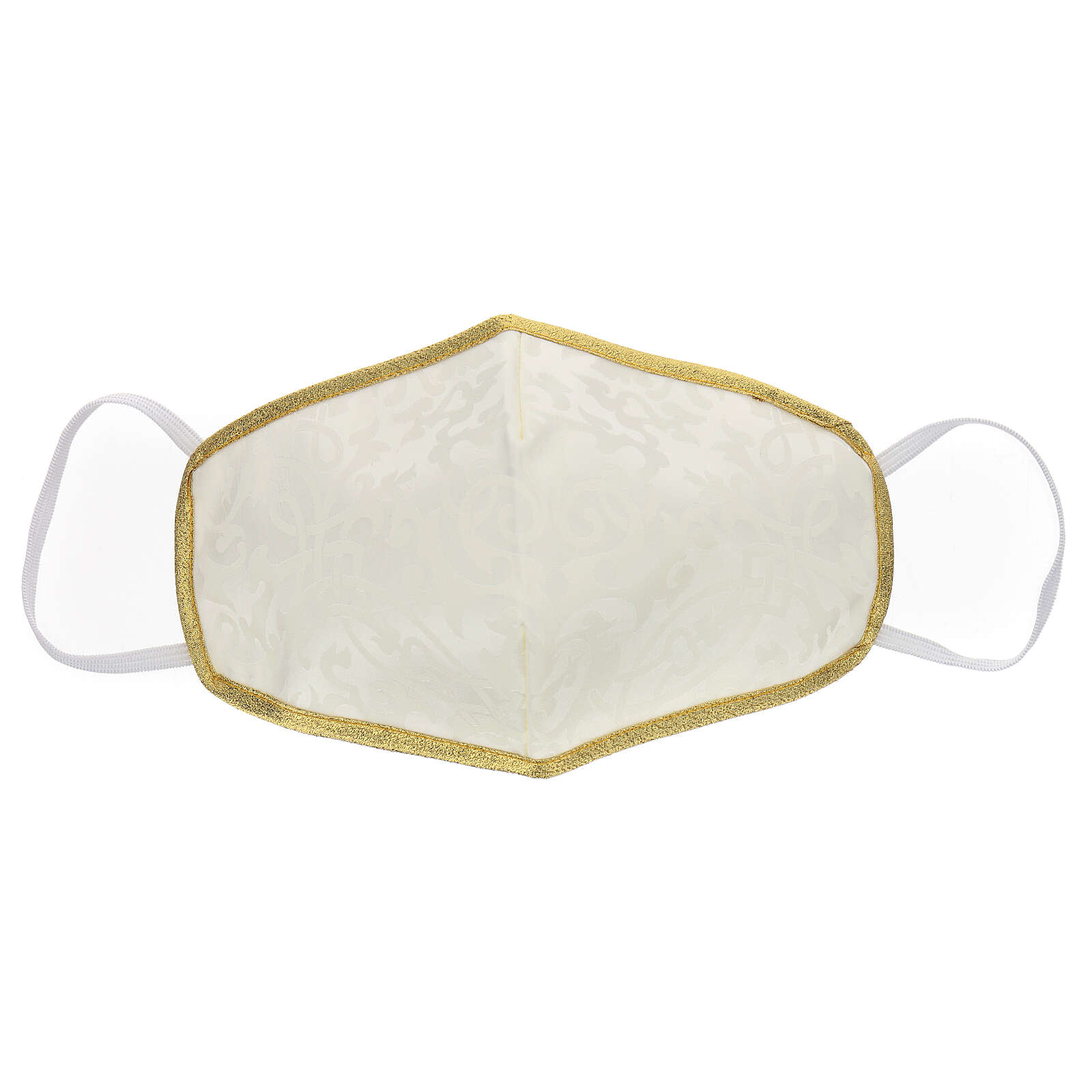Máscara de tecido lavável branco/ouro 3