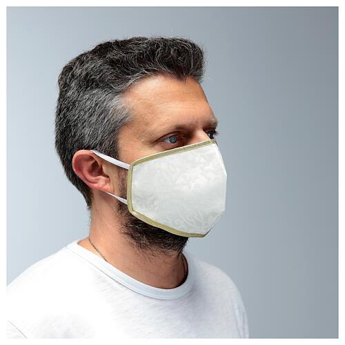 Máscara de tecido lavável branco/ouro 2