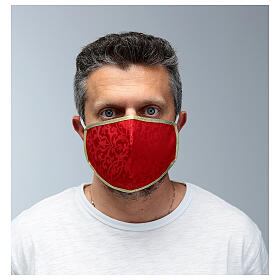 Washable fabric mask red/gold edge s2