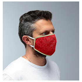 Washable fabric mask red/gold edge s3