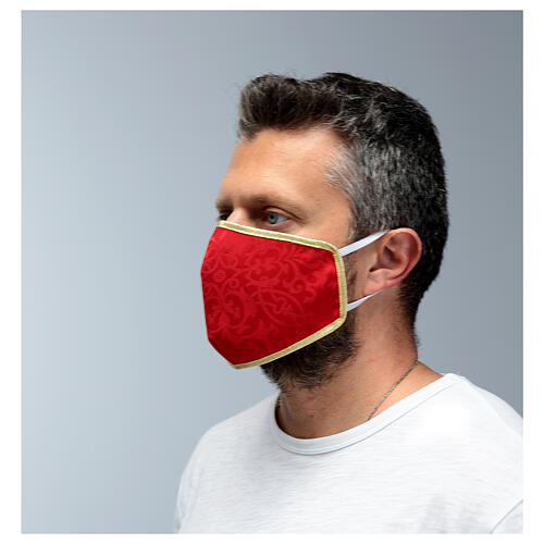 Washable fabric mask red/gold edge 4