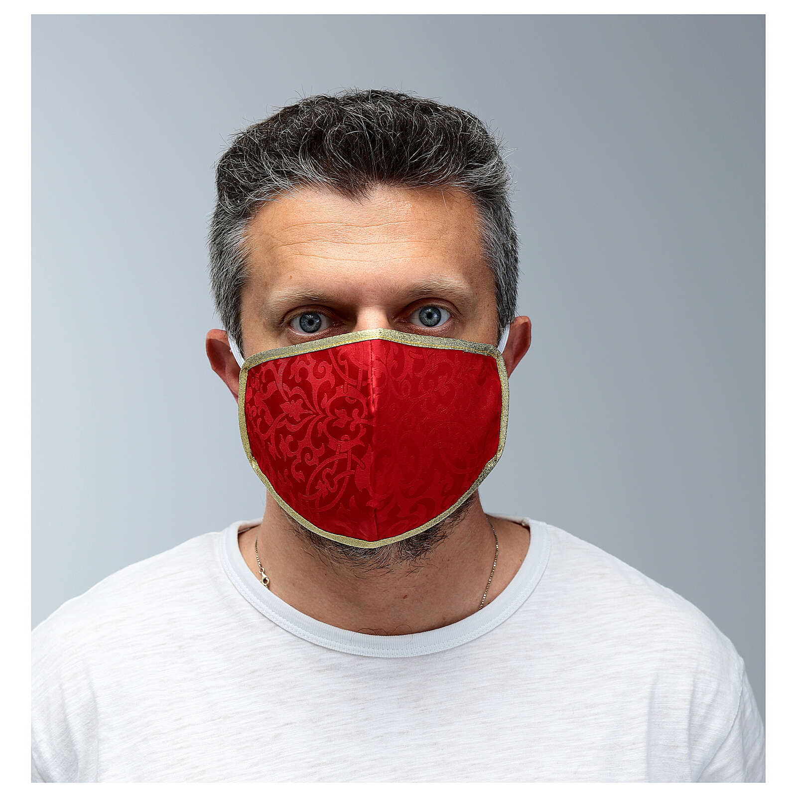 Masque lavable en tissu rouge/or 3