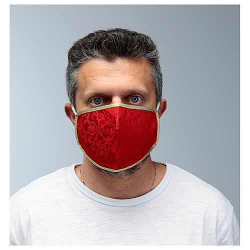 Masque lavable en tissu rouge/or 2