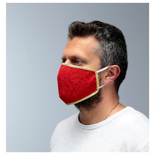 Masque lavable en tissu rouge/or 4