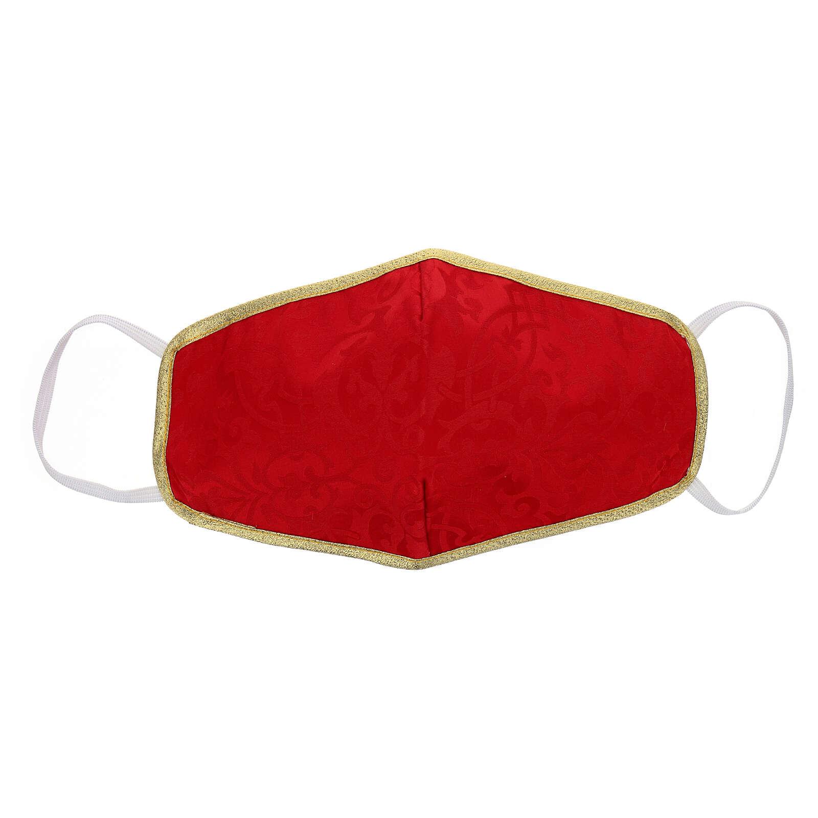 Mascherina in tessuto lavabile rosso/oro 3