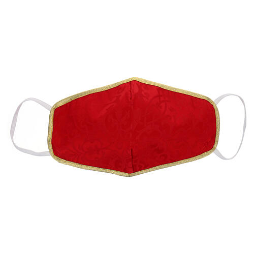 Mascherina in tessuto lavabile rosso/oro 1