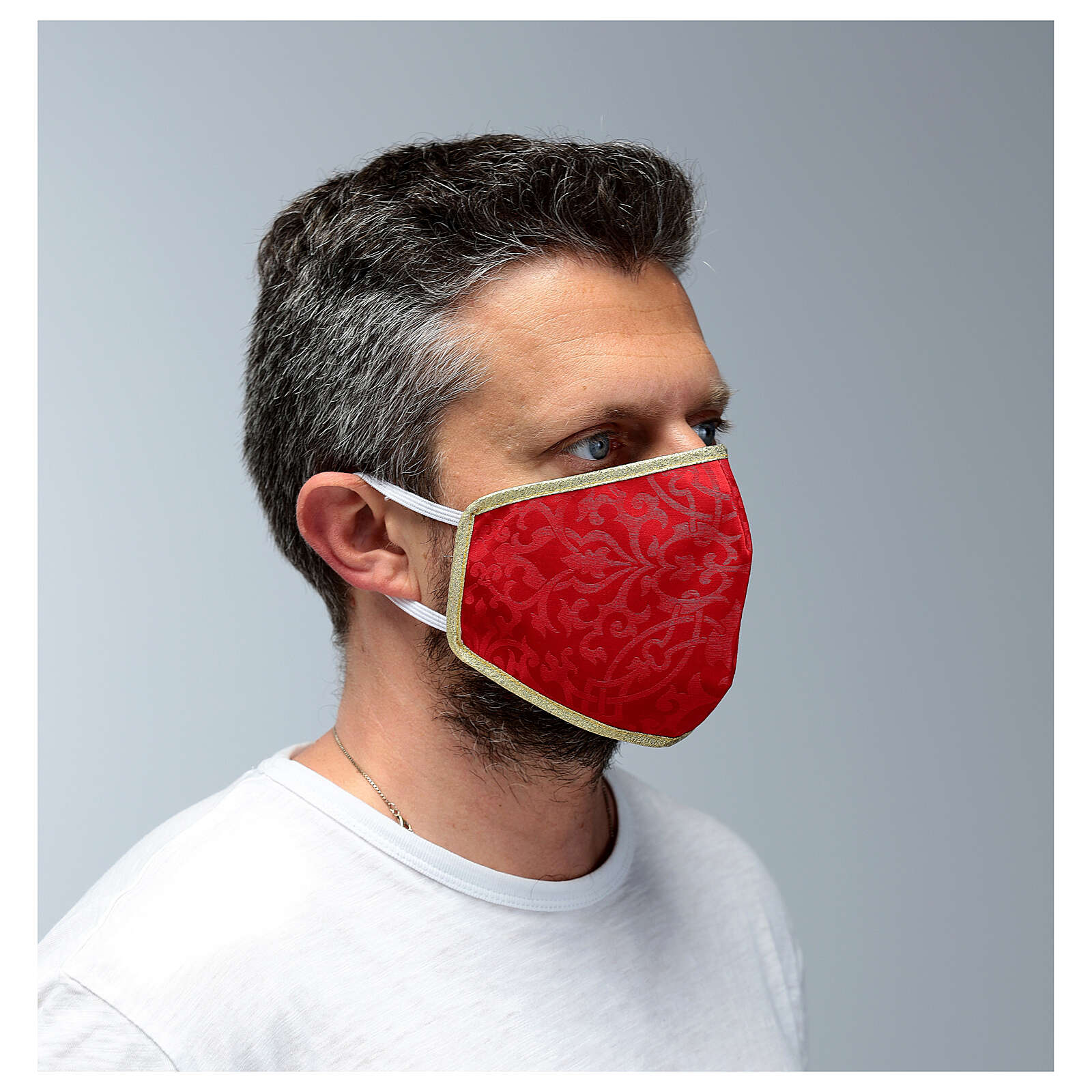 Washable fabric mask red/gold 3