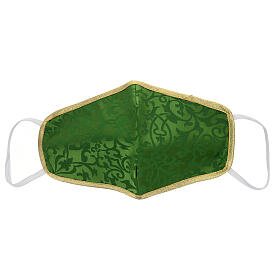 Washable fabric mask green/gold edge s1