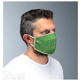 Washable fabric mask green/gold edge s3