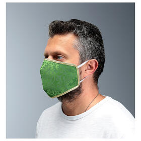 Washable fabric mask green/gold edge s4
