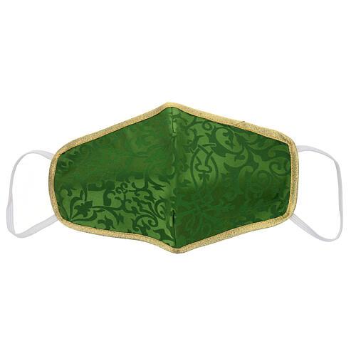 Washable fabric mask green/gold edge 1