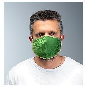 Mascarilla de tejido lavable verde/oro s2