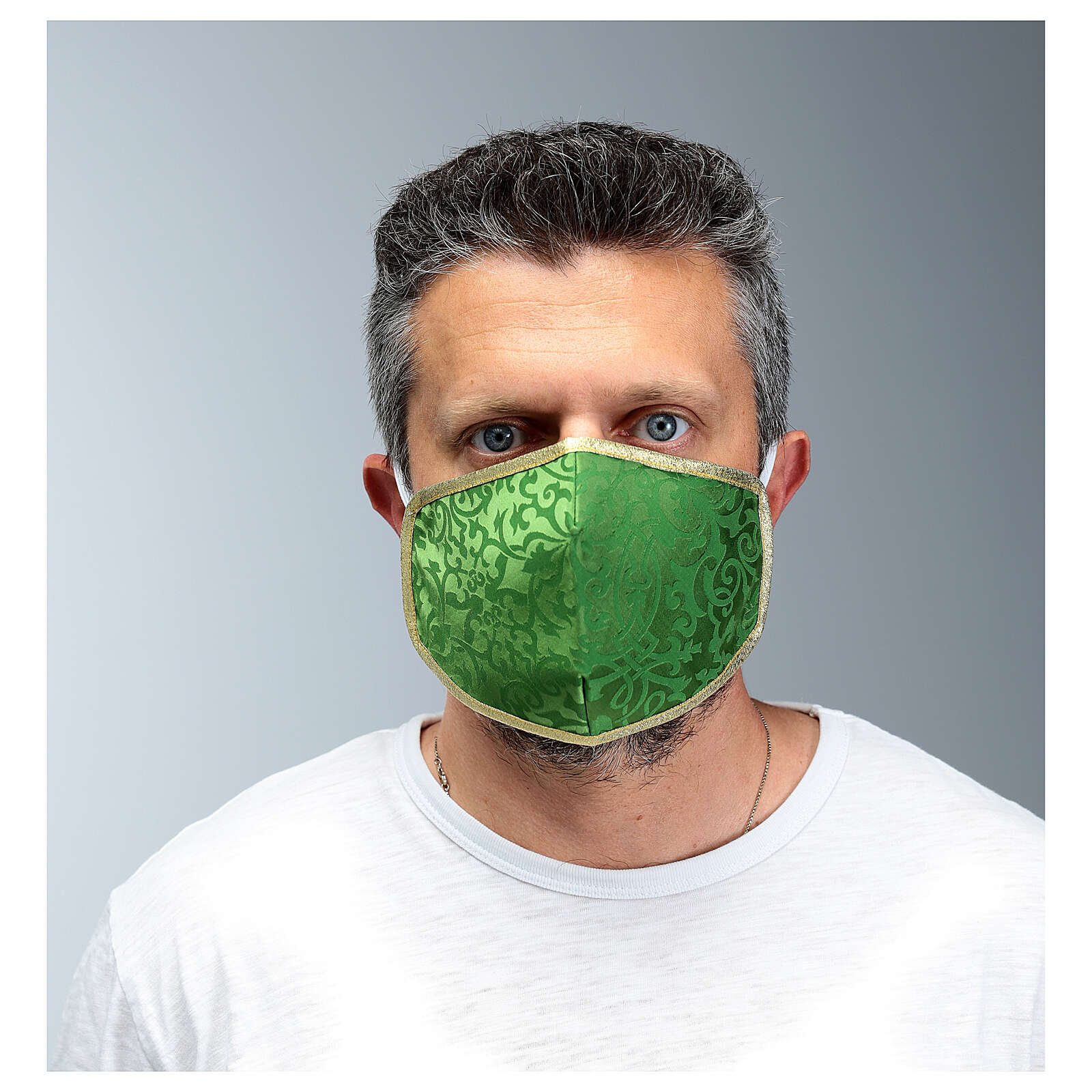 Washable fabric mask green/gold 3