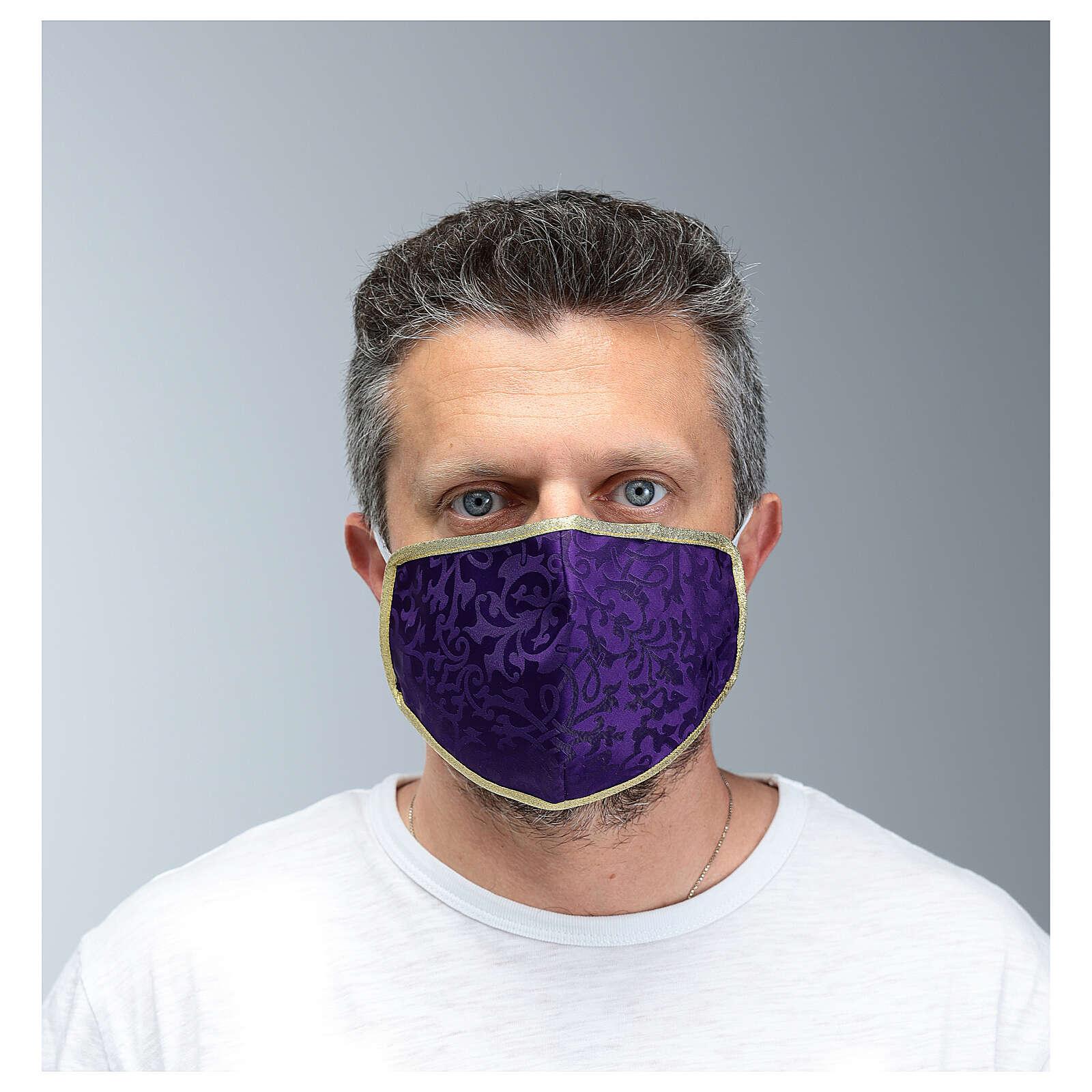 Washable fabric mask purple/gold edge 3