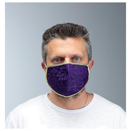 Washable fabric mask purple/gold edge 2