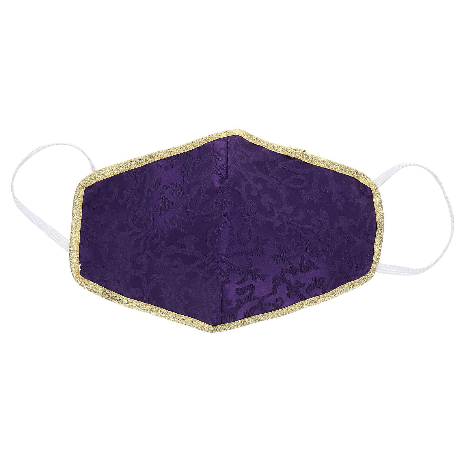 Masque lavable en tissu violet/or 3
