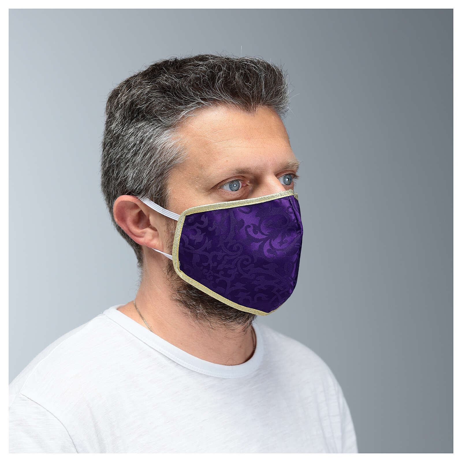Mascherina in tessuto lavabile viola/oro 3