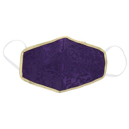 Mascherina in tessuto lavabile viola/oro 1