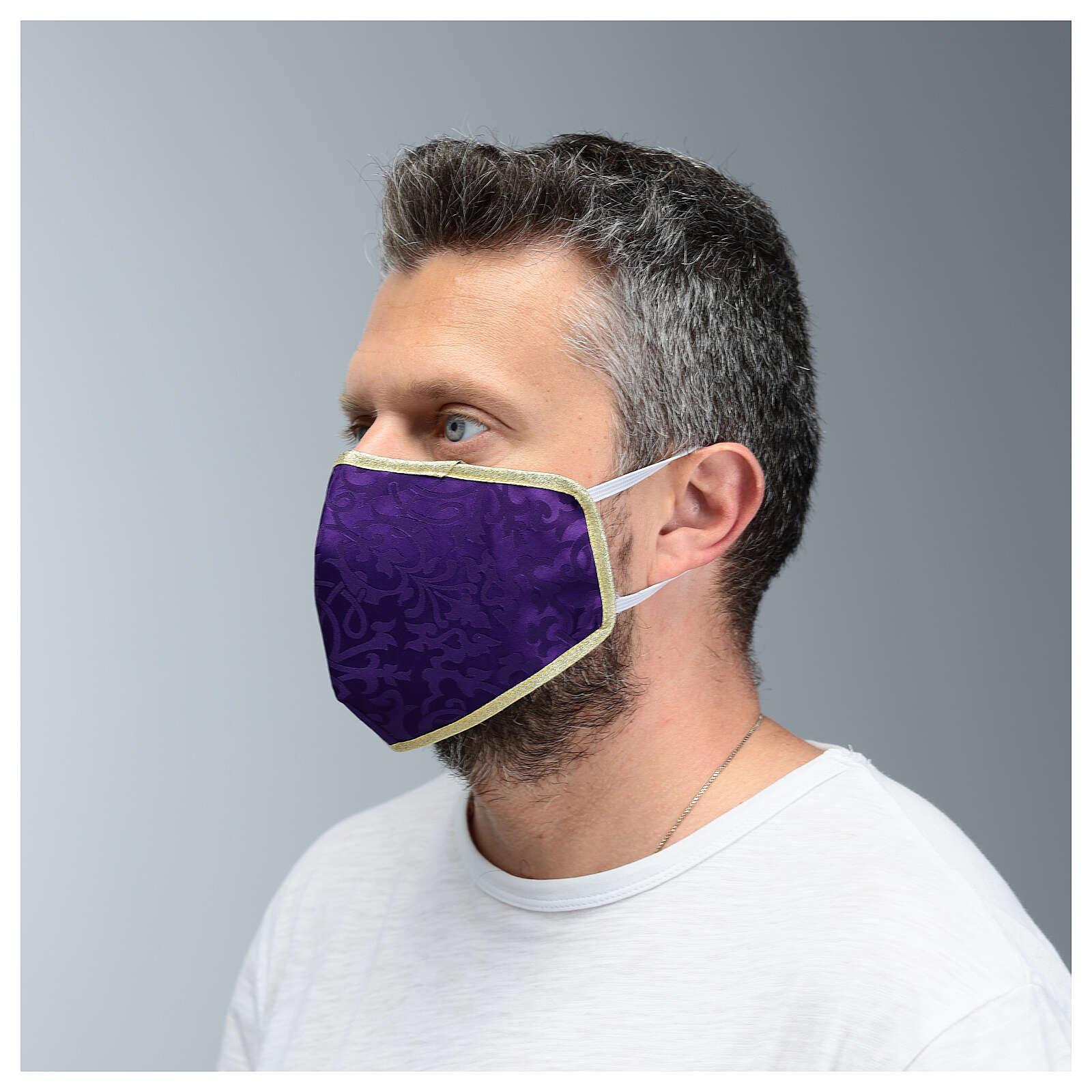 Máscara de tecido lavável roxo/ouro 3