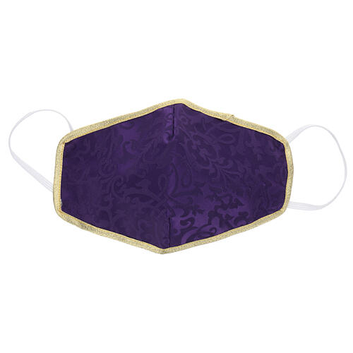 Máscara de tecido lavável roxo/ouro 1