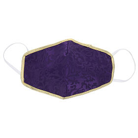 Washable fabric mask violet/gold s1