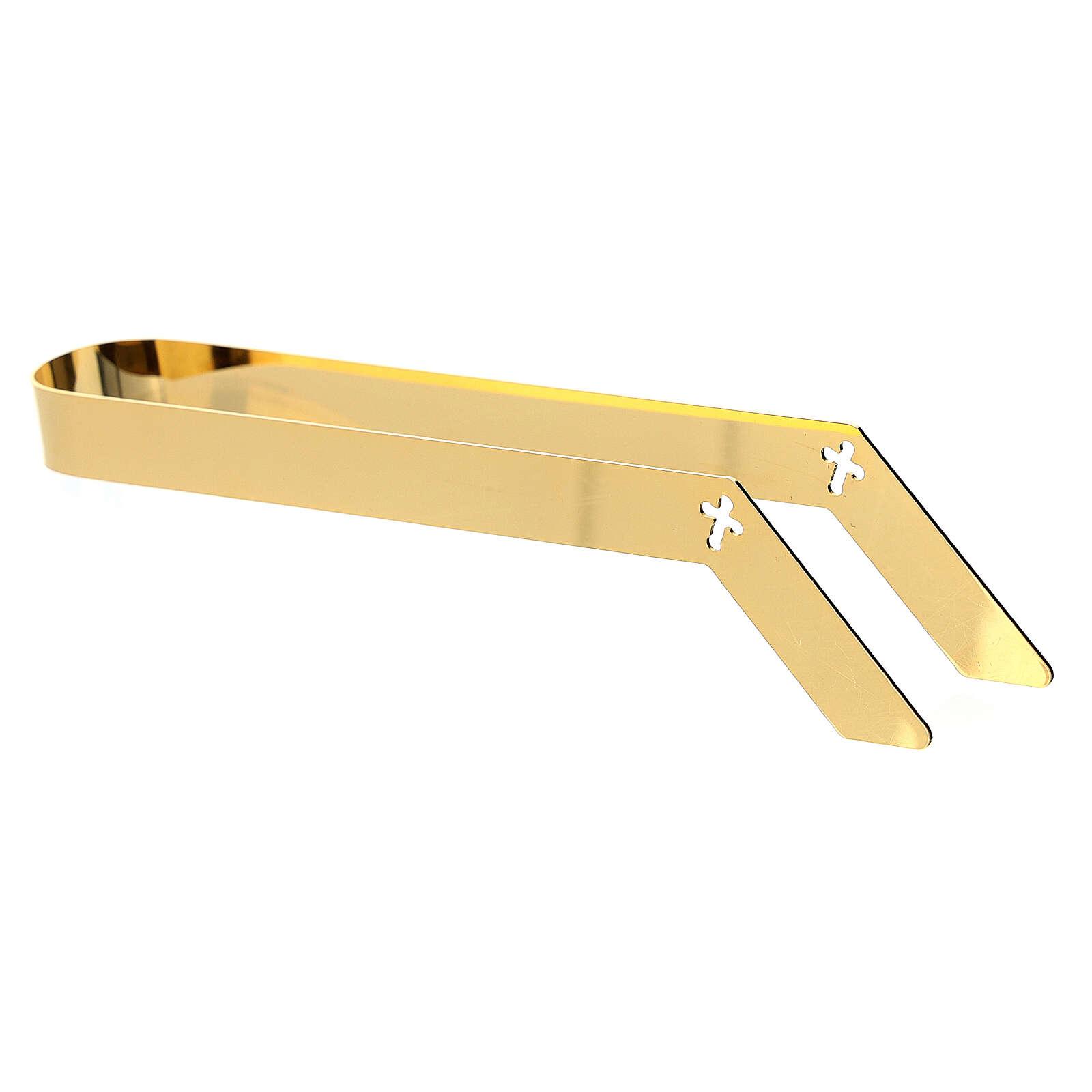 Hostienzange, 16 cm, aus vergoldetem Messing 3