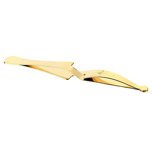 Zange zur Verteilung von Hostien aus vergoldetem Messing mit Umkehrgriff 4