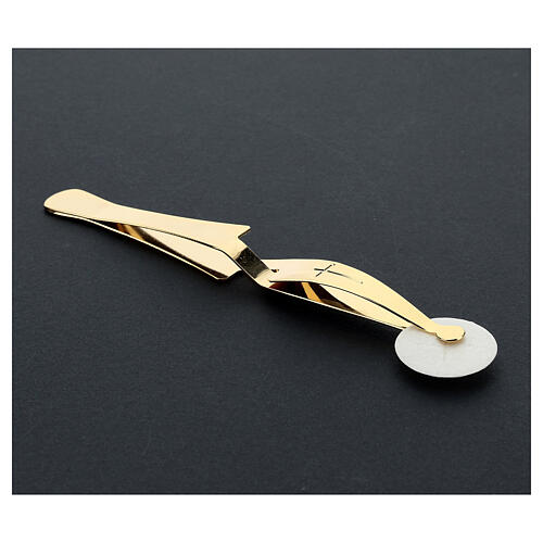 Eucharist Host tongs in golden brass with reverse grip 3
