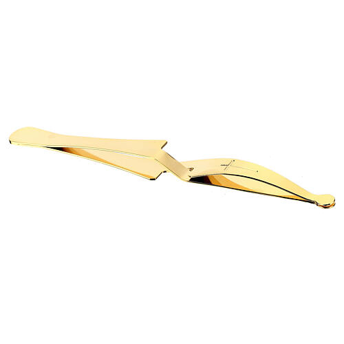 Eucharist Host tongs in golden brass with reverse grip 4